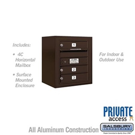 Salsbury 3805S-03ZFP 21 - 0.125 in. 5 Door High Unit Single Column 3 MB1 Doors Front Loading Surface Mounted 4C Horizontal Mailbox Unit, Bronze - Private Access