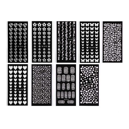 bmc cute 9 sheet mixed design cut out nail polish vinyl decal stencil bundle. Black Bedroom Furniture Sets. Home Design Ideas