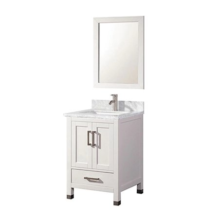 Cooper 24 inch traditional freestanding white bathroom vanity w marble top for Freestanding 24 inch bathroom vanity