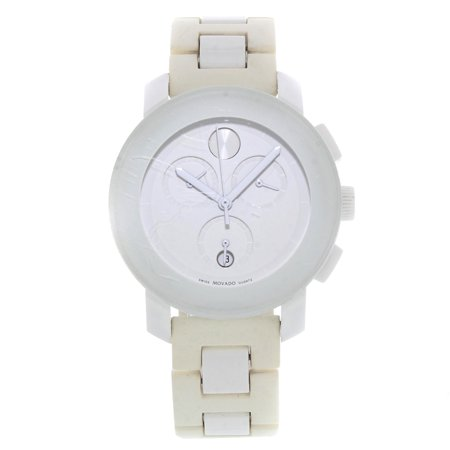 Pre-Owned Movado Bold White Plastic Rubber Steel Quartz Ladies Watch 3600057 Steel White Rubber Watch