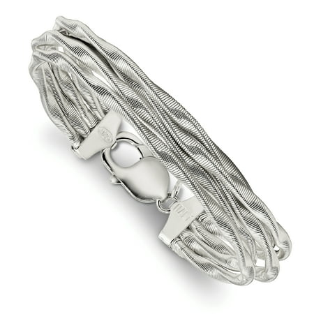 925 Sterling Silver Twisted Omega 5 Strand Bracelet 7.5 Inch Fancy For Women Gift Set