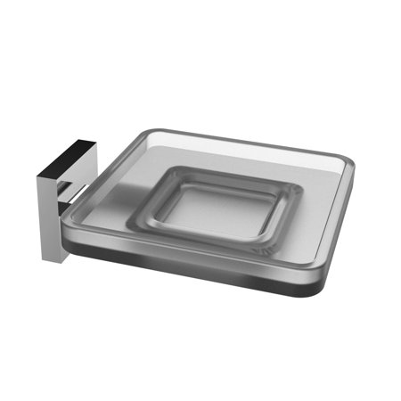 Eviva Plater  Glass Soap Holder Wall Mount  Brushed Nickel