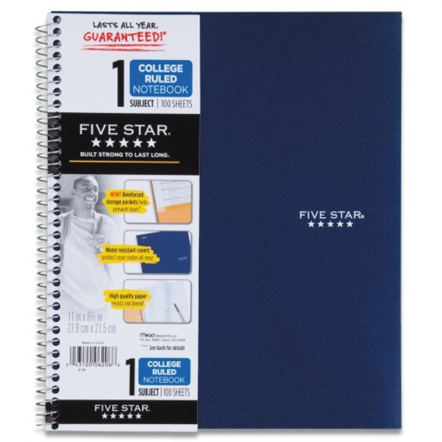 11 x 8.5 Inch... Five Star Spiral Notebook 1-Subject 100 College-Ruled Sheets