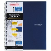 Five Star Spiral Notebook, 1-Subject, 100 College-Ruled Sheets, 11 x 8.5 Inch Sheet Size, Black (72057)