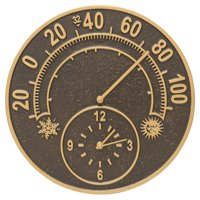 Whitehall Solstice Thermometer Outdoor Wall Clock