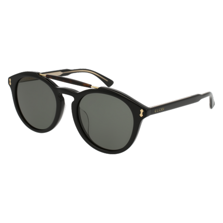 2c0c99ee9a Gucci - GG0124SA-001 Black 52mm Gucci GG0124SA Opulent Luxury Round Man  Sunglasses - Asian Fit - Walmart.com