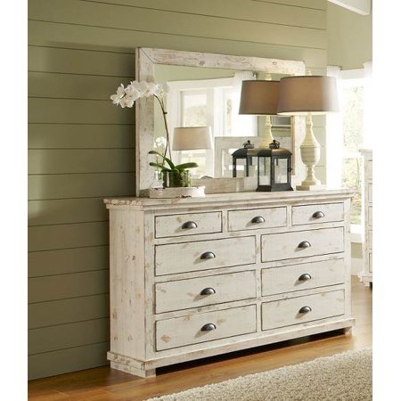 dresser and mirror set in distressed white