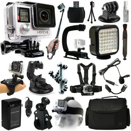 gopro hero4 hero 4 silver edition action camera camcorder selfie stick stabilizer led. Black Bedroom Furniture Sets. Home Design Ideas