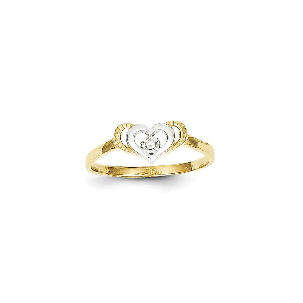 10K Yellow Gold & Rhodium CZ Heart Ring