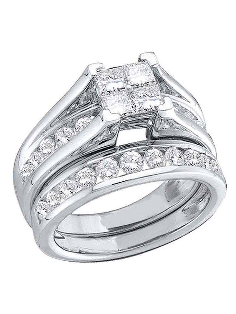 10kt White Gold Womens Princess Diamond Bridal Wedding Engagement Ring Band Set (.50 cttw.) by Mia Diamonds