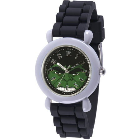Avengers Hulk Boys' Gray Plastic Time Teacher Watch, Black Silicone Strap (Kids Avengers Watch)