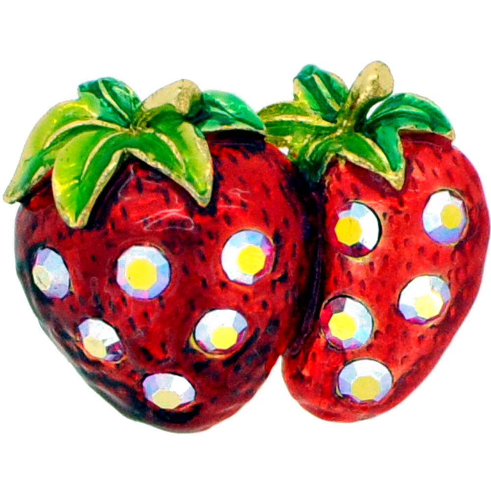 Red Strawberry Swarovski Crystal Fruit Pin Brooch by