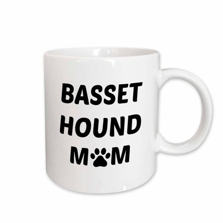 3dRose Basset Hound mom, picture of a dog paw on a white background - Ceramic Mug, 15-ounce