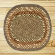 "Earth Rugs C-023 Braided Rug, 20 x 30"", Mustard/Ivory/Creme"