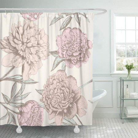 PKNMT Vintage Rose Sketch Pattern Shabby Chic Flower for You Floral Wedding Peony Old Waterproof Bathroom Shower Curtains Set 66x72 inch