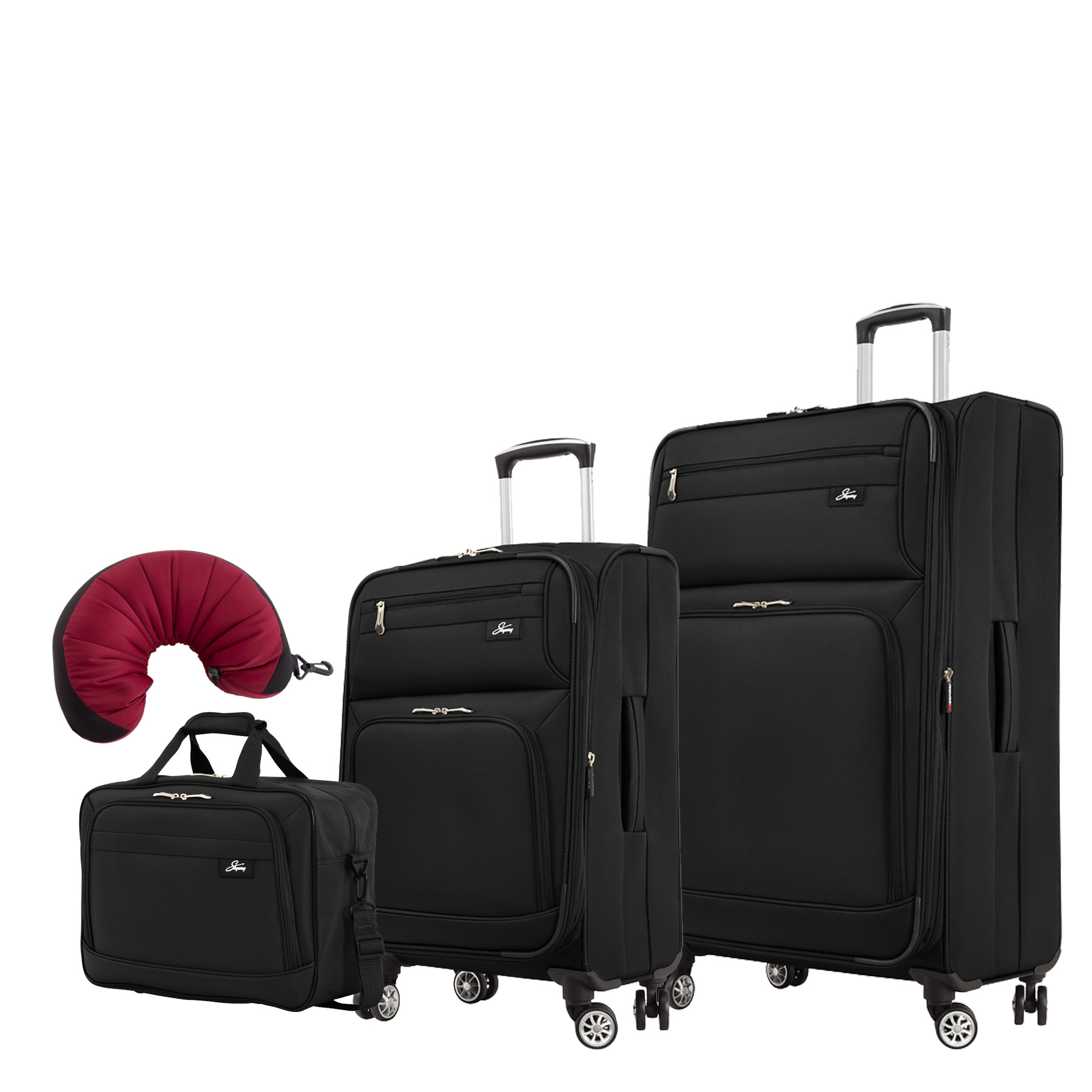 "Skyway Sigma 5.0 | 4-Piece Set | 16"" Shoulder Tote, 21"" and 29"" Expandable Spinners, Travel Pillow"
