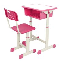 Ktaxon High School Student Desk and Chair Set Adjustable Child Study Furniture Storage Pink