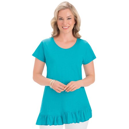 Women's Asymmetrical Ruffle Hem Short Sleeve T-Shirt with Scoop Neckline - Stylish Cotton Top, Medium, Turquoise