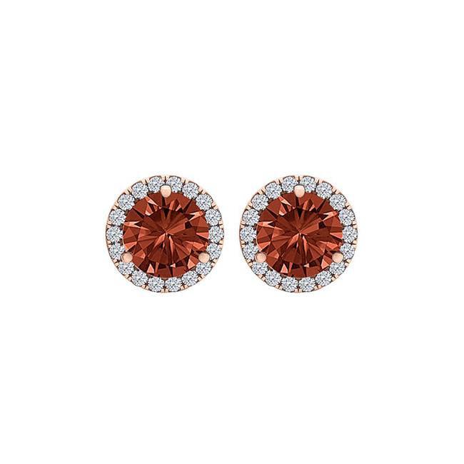 2.25CT Round Garnet & Cubic Zirconia 14K Rose Gold Fashion Halo Vermeil Stud Earrings - image 1 de 1