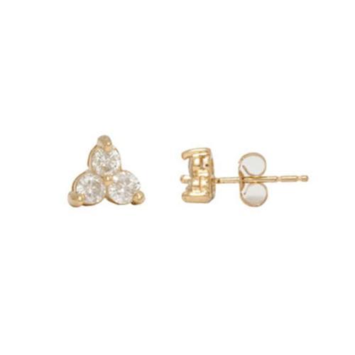 14K Gold Three Stone Stud Diamond Earrings