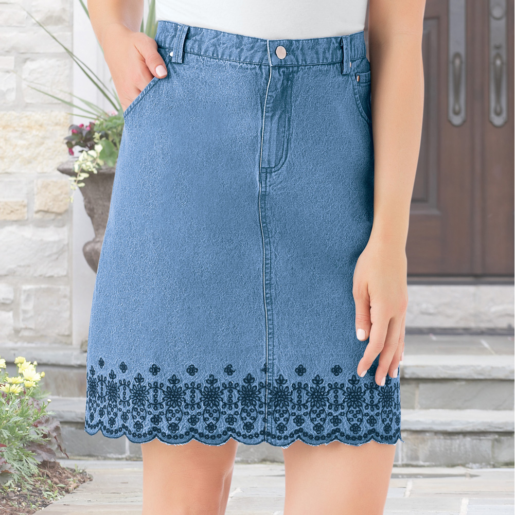 amazing quality hot-selling professional how to find Women's Trendy Embroidered Floral Border Scalloped Denim Skirt with Elastic  Waistband, X-Large, Denim Blue