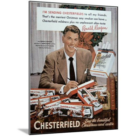 Chesterfield Cigarette Advertisement Featuring Ronald Reagan Wood Mounted Print Wall (Wall Mounted Cigarette)