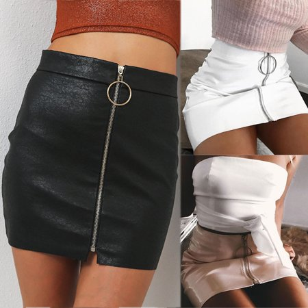 EFINNY Women's PU Leather High Waist Short Mini Skirt Straight Zipper Pencil Skirt Office Party