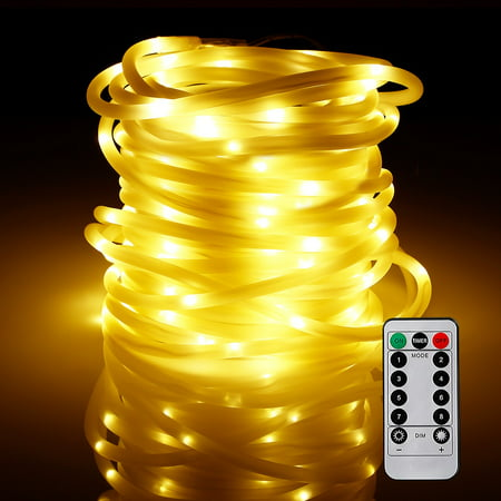 TORCHSTAR 33ft 100 Outdoor LED Rope String Lights for Christmas, Warm White