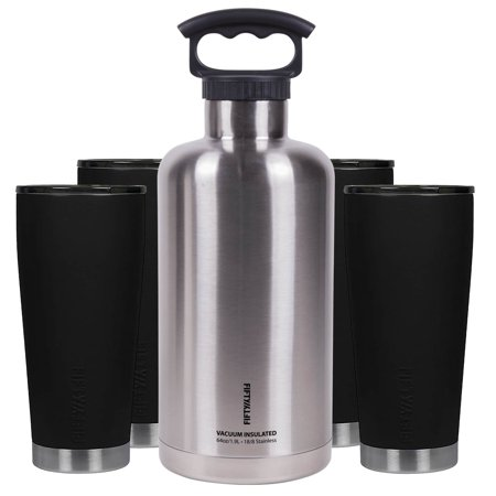 Fifty-Fifty Premium Outdoor Insulated Beer Growler Bundle, Black and Stainless (Nostalgia Cbd5ss Homecraft On Tap Beer Growler System)