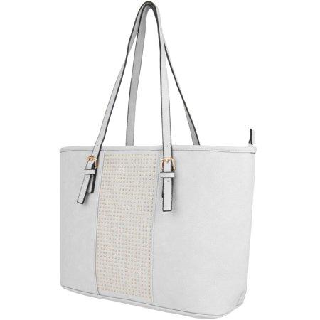VanGoddy Gwen Women's Leatherette Studded Tote Shoulder Bag