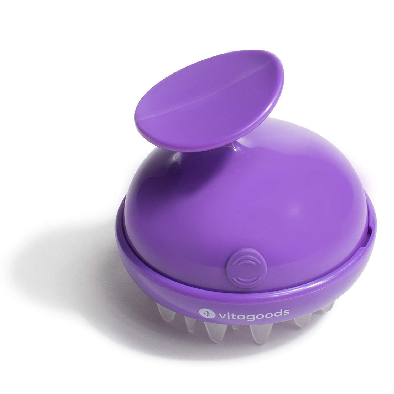 Image result for Vitagoods Scalp Massaging Shampoo Brush - Handheld Vibrating Massager, Water-Resistant Device - Purple