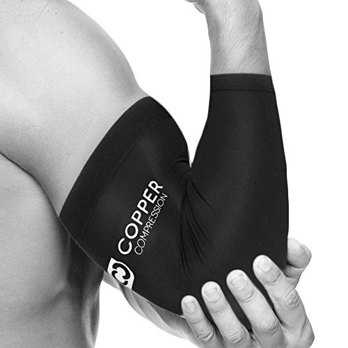 Elbow Support Arm Sleeves Fit for Men and Women Arthritis Guaranteed Highest Copper Content Elbow Brace for Tendonitis Copper Compression Recovery Elbow Sleeve Small Golfers or Tennis Elbow