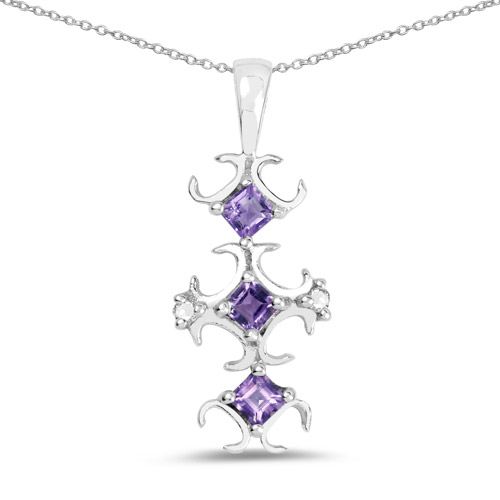 0.32 ct. Genuine Amethyst and White Diamond Sterling Silver Pendant