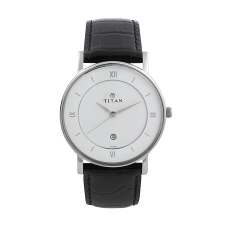 Titan Men's 9162SL04 Contemporary Black Leather Strap Watch