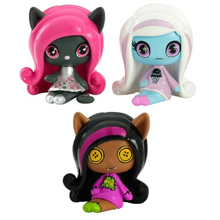 Minis Rag Doll Ghouls Clawdeen Wolf, a sparkling Candy Ghouls Abbey Bominable and an Original Ghouls Catty Noir Figures, 3 Pack..., By Monster High Ship from US