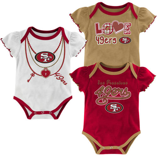 Image of NFL, Team: 49ERS, NB/INF 3 Pack Girl Creepers, Team Color/Grey/Alternate Team Color