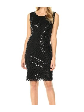 85207f63 Product Image Kasper NEW Deep Black Womens Size 16 Sequin-Mesh Solid Sheath  Dress
