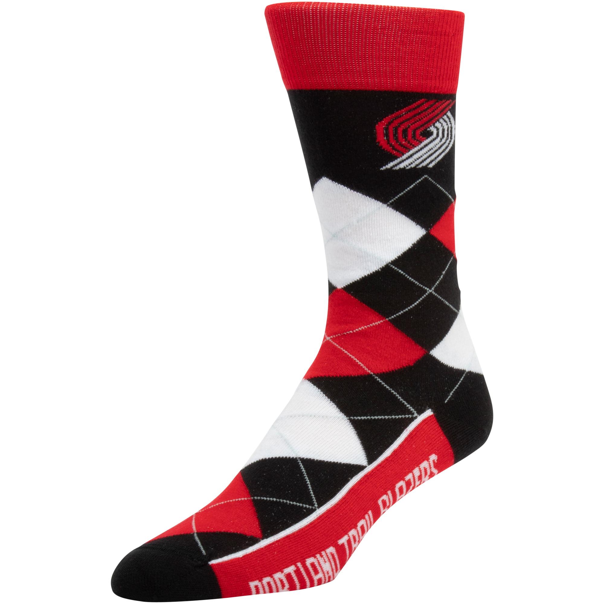 Portland Trail Blazers For Bare Feet New Argyle Socks - Red - No Size