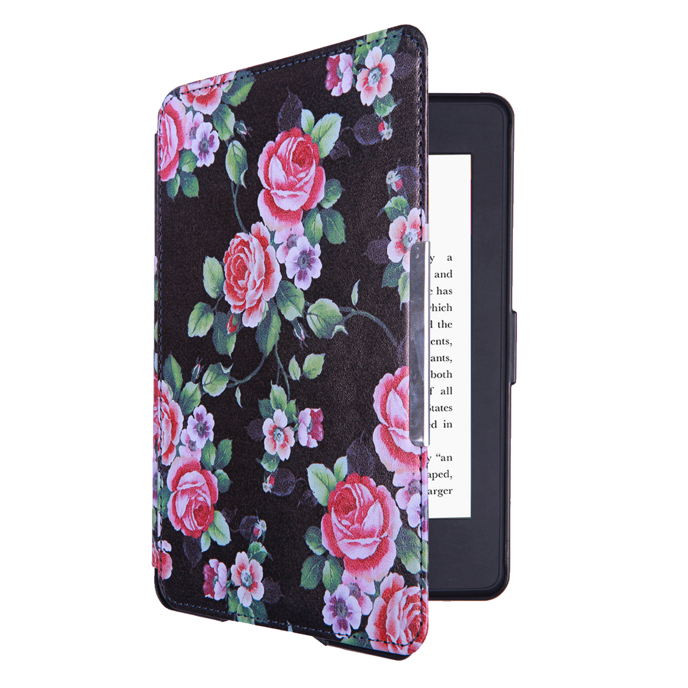 HDE Ultra Slim Case for Kindle Paperwhite Auto Sleep Wake Magnetic Cover Smart Shell for 1st 2nd 3rd Generation Paperwhite (Black Floral)