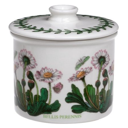 - Botanic Garden Drum Shaped Covered Sugar Bowl, Botanic Garden drum-shaped lidded sugar bowl, 3-1/4 inches in diameter By Portmeirion