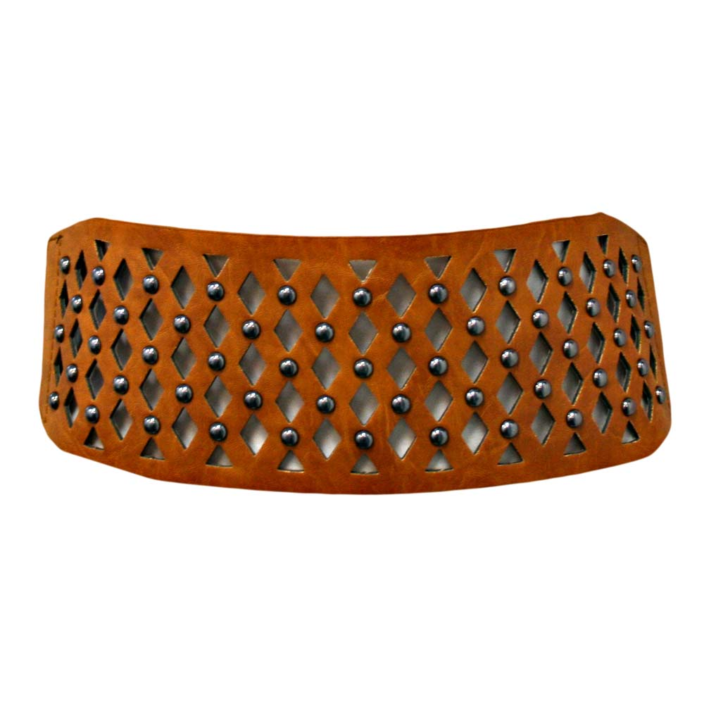 Luxury Divas Camel Wide Studded Cut-out Waist Cinching Belt