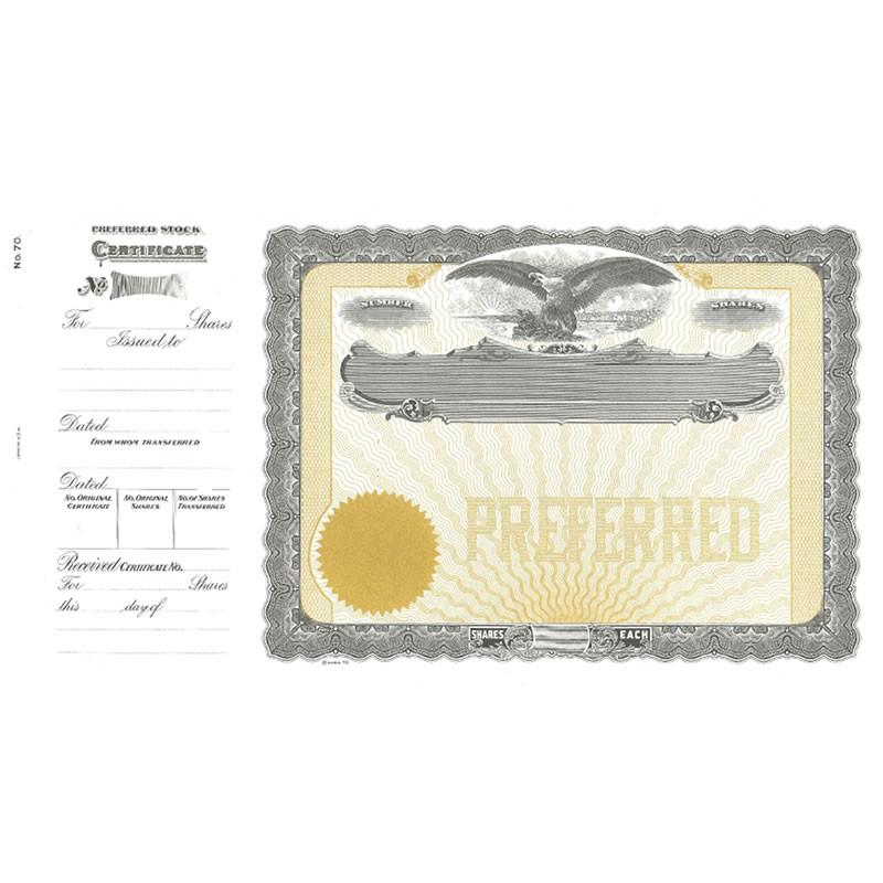Goes 70 Preferred Stock Certificate Form - Pack of 25