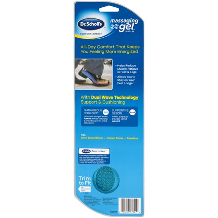 Dr. Scholl's Comfort & Energy Massaging Gel Insoles for Men, 1 Pair, Size 8-14