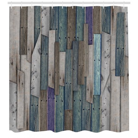 Rustic Shower Curtain Image Of Blue Grey Grunge Wood Planks Barn House Door Nails Country Life Theme Print Fabric Bathroom Set With Hooks Gray