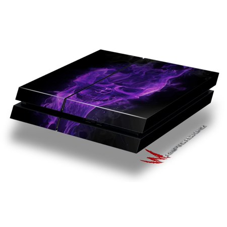 Flaming Fire Skull Purple - Decal Style Skin fits original PS4 Gaming Console by WraptorSkinz ()