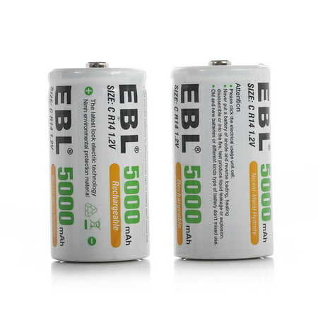 EBL 2-Pack 1.2V Size C Battery 5000mAh Ni-MH Rechargeable Batteries ()