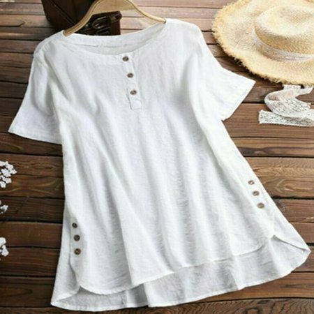 Womens Summer Short Sleeve T Shirts Blouse Ladies Tunic Loose Tops Plus Size White Size (Ladies Tunic T-shirt Tee)