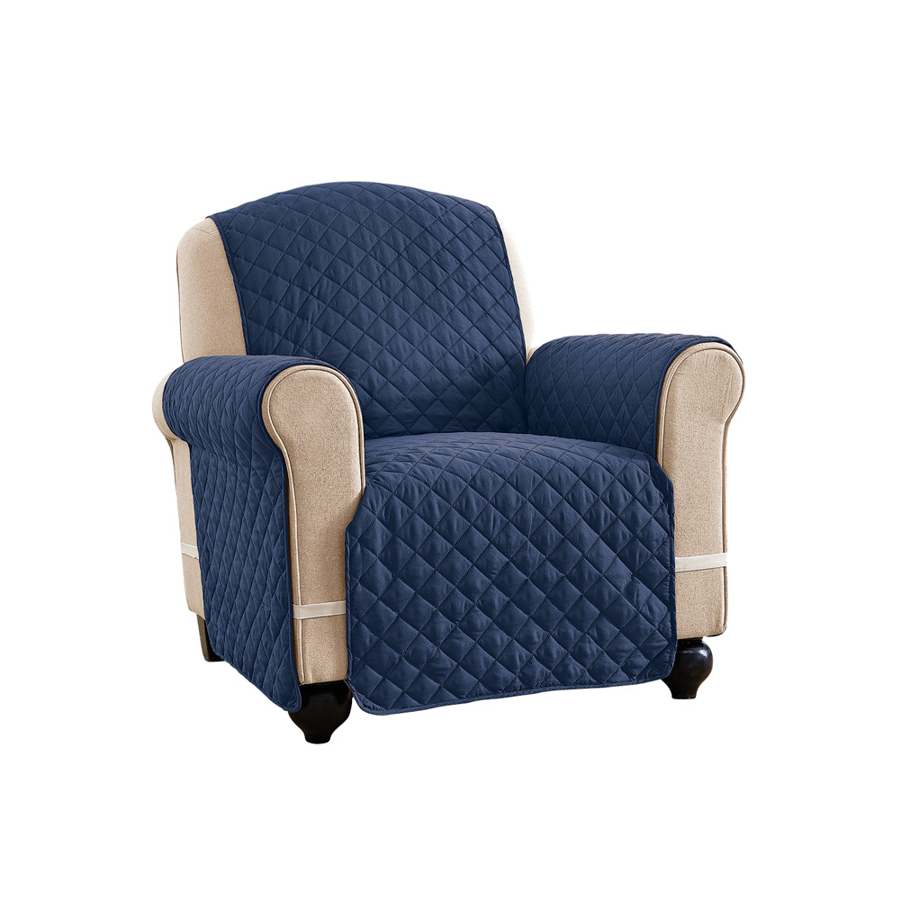 Reversible Spill Resistant Quilted Furniture Protector Cover With Ties    Covers Seat Bottom, Seat Back And 2 Seat Arms, Chair, Navy/Blue