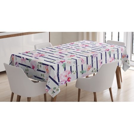 Navy and Blush Tablecloth, Spring Bouquets on Stripes Orchid Peony Bell Flowers Feminine, Rectangular Table Cover for Dining Room Kitchen, 52 X 70 Inches, Indigo Pink Reseda Green, by Ambesonne