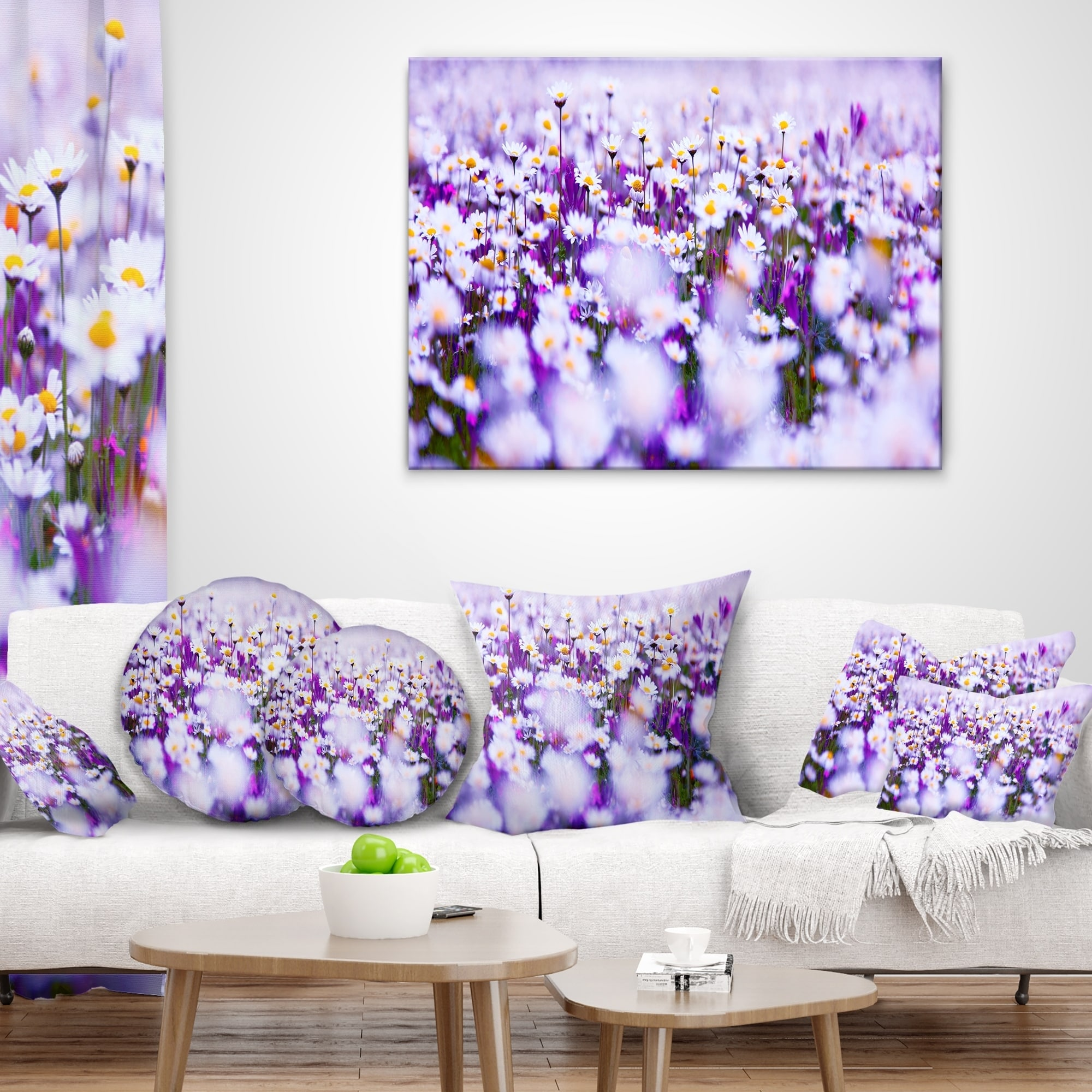 Design Art Designart Daisy Field Photography Panorama Floral Throw Pillow Walmart Com Walmart Com